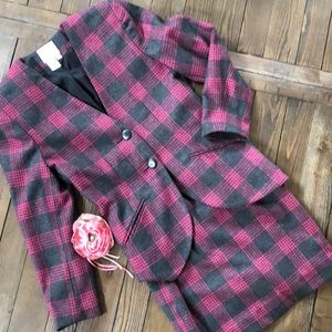 GWC Adorable pink and gray checked wool blend suit